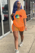 Orange Casual Polyester Mouth Graphic Short Sleeve Round Neck Tee Top Shorts Sets AMM8219