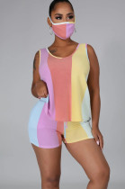 Orange Yellow Purple Casual Sporty Polyester Striped Sleeveless Round Neck Knotted Strap Tank Top Shorts Sets LA3204