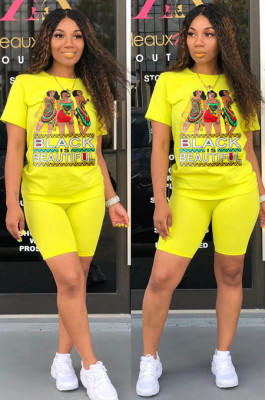Yellow Casual Letter Cartoon Graphic Short Sleeve Round Neck Tee Top Shorts Sets SN3762