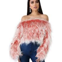 Red Fashion Ladies Artificial Furs Off Shoulder Winter Short Top ZS0250