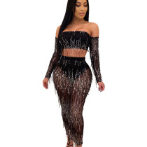 Black Mature Women See Through Sequined Tassel Sexy Skirt Suits QZ4089