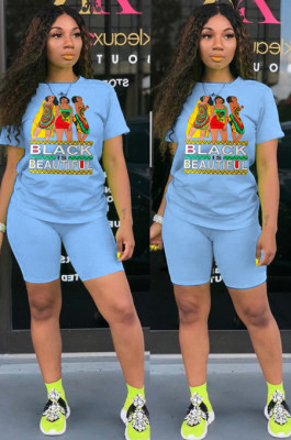 Blue Casual Letter Cartoon Graphic Short Sleeve Round Neck Tee Top Shorts Sets SN3762