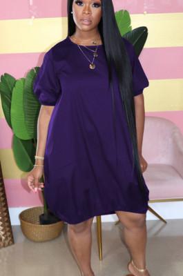 Purple Casual Polyester Short Sleeve Round Neck High Waist Long Dress AL107