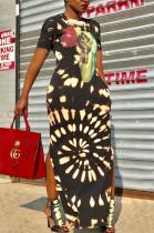 Black Elegant Cotton Short Sleeve Round Neck First Long Dress OLY6008