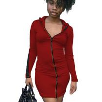 Wine Red Cheap Women Bodycon Zipper Casual Long Sleeved Mini Dress N9181