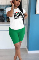 Green Casual Polyester Letter Short Sleeve Round Neck Tee Top Shorts Sets YYF8110