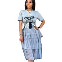 Grey Letter Print Casual T Shirts Tops Mesh Dress SN3578