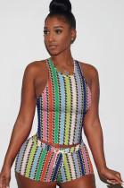 Rainbow Verticle Tied-dye Drawstring Waist Tank Top & Elastic Self-tied Shorts Sets QQM4024