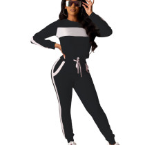 Black Shiny Splicing Patchwork Leisure Wear Outdoor Long Outfits T3391