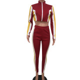 Sport Color Patchwork Autumn Outfits For Lady OEP5287B