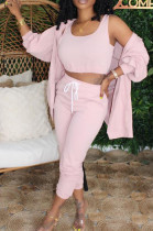 Pink Casual Cotton Long Sleeve Utility Blouse Long Pants Sets K2002
