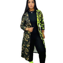 Green Hot Sell Winter Women Camouflage Turn Down Collar Long Coat H1260