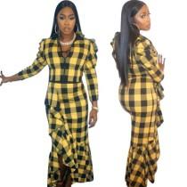 Stylish Checks Suits Long Sleeve Top Ruffle Skirt OEP5294