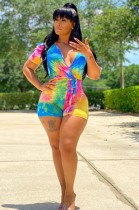Multi Casual Polyester Tie Dye Short Sleeve Deep V Neck Knotted Strap Bodycon Jumpsuit MR2034