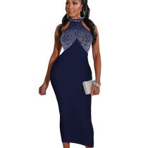 Dark Blue Bodycon Party Sleeveless Hot Drilling Halter Neck Long Dress WMZ2518
