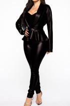 Black Casual Pu Leather Long Sleeve Flounce Utility Blouse Long Pants Sets BBN026