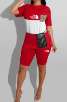 Red Casual Polyester Letter Short Sleeve Round Neck Spliced Tee Top Shorts Sets YMT6145
