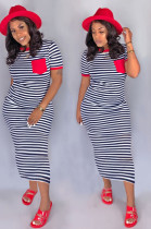 Red Casual Striped Short Sleeve Round Neck Long Dress CM749