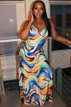 Oil Painting Print Open Back Slip Evening Cami Long Dress M1040