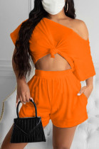 Orange Casual Polyester Short Sleeve Tee Top Shorts Sets R6308
