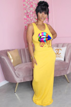 Yellow Casual Cotton Mouth Graphic Sleeveless Round Neck Tank Dress TRS1037