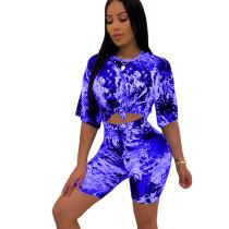 Blue Summer T Shirts Midi Shorts Two Pieces Sets HHM6139