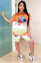 Orange Casual Mouth Graphic Short Sleeve Round Neck Tee Top Shorts Sets TZ1090
