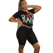 Black Letter Print T Shirts Midi Shorts Two Pieces Sets F8215