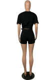 Black Solid Color Roll-up Sleeve Crop Top & Shorts Sets OEP6168