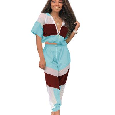 Blue Summer Mesh Color Block Zipper Sports Outfits OEP6002