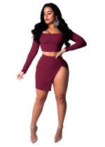 Cheap Suits Off Shoulder Top Split Short Skirt WMZ2382