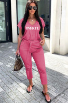 Rose Red Casual Cotton Letter Short Sleeve V Neck Tee Top Pants Sets F8280