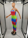Colorful Tie Dyeing Strappy Bodycon Jumpsuits H1126