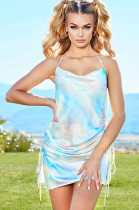 Sky Blue Shinning Open Back Wired Cami Dress CYF3384