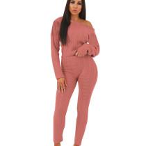Pink Women's Clothing Wholesale Sweaters Pure Color Winter Set QQM3583