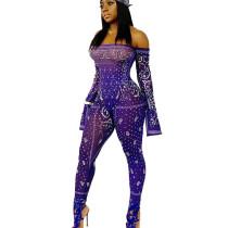 Euramerican Flat Shoulder Printing Slim Women Jumpsuit For Sale NK066