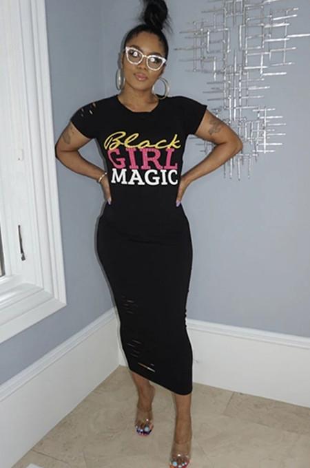 Black Letter Print Flutter Sleeve Long Dress KDN1151