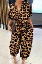 Golden Leopard Texture Front Half Zipper Shirred Bottom Jumpsuit