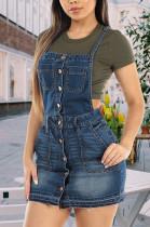 Slant Pocket Pinafore Denim Skirt JLX5013