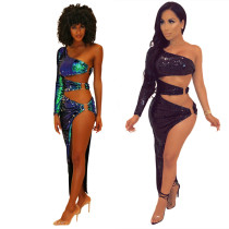Club Sexy Sequin Skirt Suits For Women LS6204