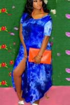 Blue Casual Polyester Tie Dye Short Sleeve V Neck Split Hem Long Dress HY5164