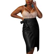 Black Women's PU Leather Asymmetric Straight Skirts Bottoms Business F8251