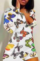 Casual Polyester Butterfly Graphic Long Sleeve Round Neck Bodycon Jumpsuit H1505