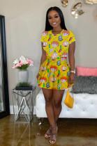 Yellow Comic Figures Random Print Ruffles Hem Mini Dress LML098