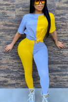 Yellow Blue Casual Polyester Short Sleeve Round Neck Spliced Tee Top Long Pants Sets AA5168