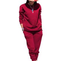 Burgundy Sport Plain Color Comfy Sets Simple T Shirt Skinny Pants TRS991
