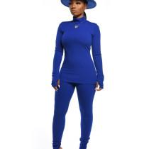 Blue Comfy Bodycon Autumn Winter Plain Color Women Sets CM632