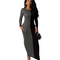 Silver Wholesale Price Ladies Printed Splicing Ankle Length Dress YMT6118