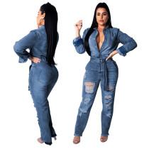 Casual Slit Jeans Jumpsuits With Belt SMR9097