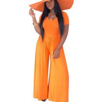Pure Color Orange Oversize Wide Leg Casual Jumpsuits D8272